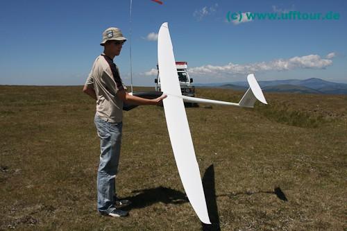 Alex mit dem Segelflieger