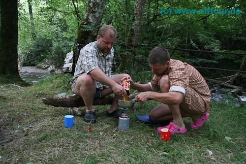 Zubereitung des 4-Gänge-Menü
