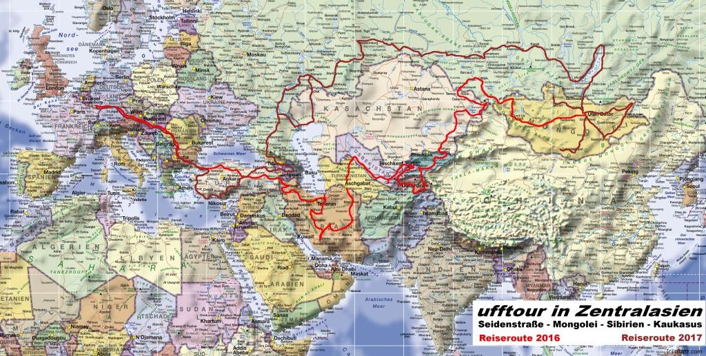 Karte Reiseüberblick Planung Zentralasien-Tour 2016/2017